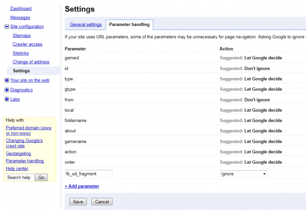 Filtering out fb_xd_fragment in Google Webmaster Tools