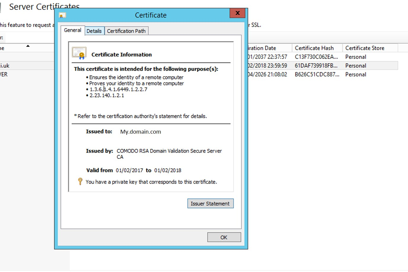 Installing a ssl certificate to qlik sense enterprise on windows the certificate detail view lets you get to the thumbprint on the detail tab xflitez Images