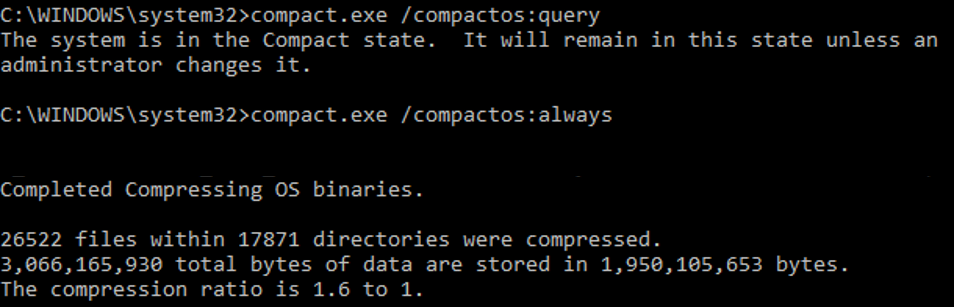 Compact status and result